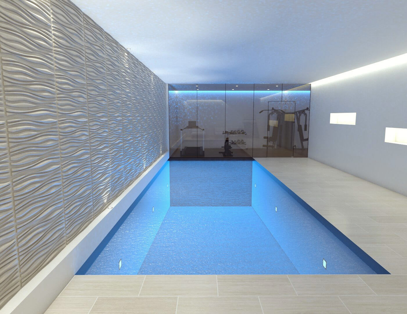 Basement swimming pool steam room spa construction for Swimming pool room ideas